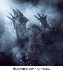3D Illustration of a demon monster in the rays of light
