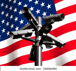 3D illustration depicting a closed circuit television (CCTV) camera tower with an waving American flag background