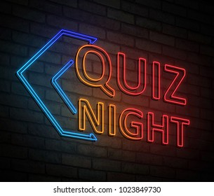 3d Illustration depicting an illuminated neon sign with a quiz night concept.