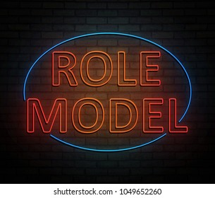 3d Illustration depicting an illuminated neon sign with a role model concept.