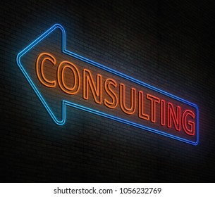 3d Illustration depicting an illuminated neon sign with a consulting concept.