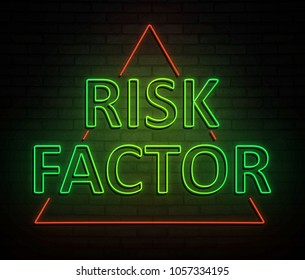 3d Illustration depicting an illuminated neon sign with a risk factor concept.
