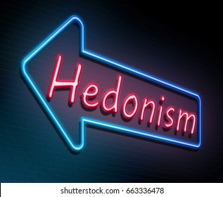3d Illustration depicting an illuminated neon sign with a hedonism concept.