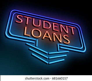 3d Illustration depicting an illuminated neon sign with a student loans concept.