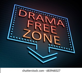 3d Illustration depicting an illuminated neon sign with a drama free zone concept.