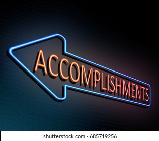 3d Illustration depicting an illuminated neon sign with an accomplishment concept.