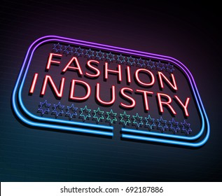 3d Illustration depicting an illuminated neon sign with a Fashion Industry concept.