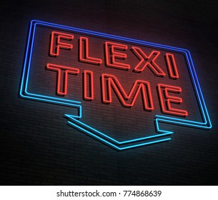 3d Illustration depicting an illuminated neon sign with a flexi time concept.
