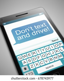 3d Illustration depicting a phone with a texting and driving concept.