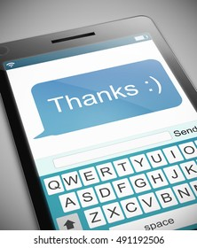 3D Illustration depicting a phone with a thank you message concept.