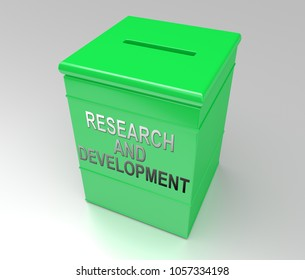3d Illustration depicting a red cube money box with a research and development concept.
