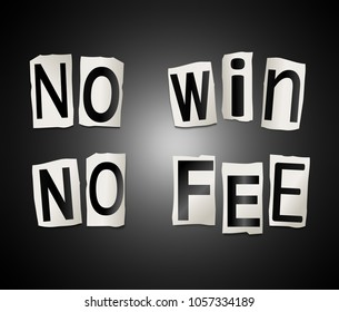 3D Illustration depicting a set of cut out printed letters arranged to form the words no win no fee.