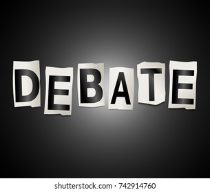 3d Illustration depicting a set of cut out printed letters arranged to form the word debate.