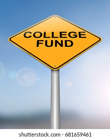 3d Illustration depicting a sign with a college fund concept.