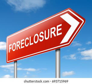 3d Illustration depicting a sign with a foreclosure concept.