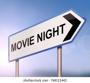 3d Illustration depicting a sign with a movie night concept.