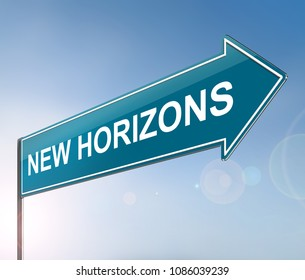 3d Illustration depicting a sign with a new horizons concept.