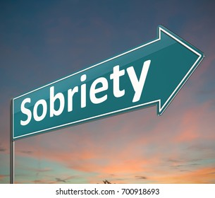 3d Illustration depicting a sign with a sobriety concept.