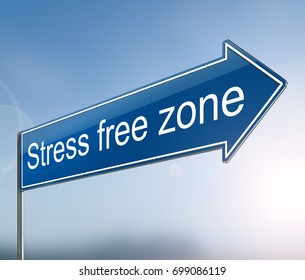 3d Illustration depicting a sign with a stress free zone concept.