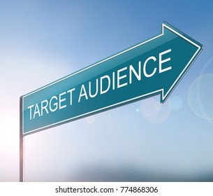 3d Illustration depicting a sign with a target audience concept.