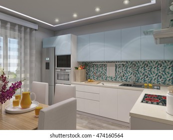 3d illustration design interior of modern kitchen with blue and white facades
