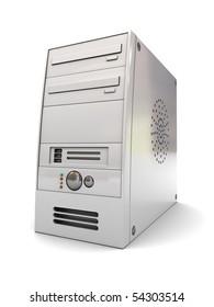 3d illustration of desktop computer case over white background