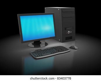 3d illustration of desktop computer over dark background
