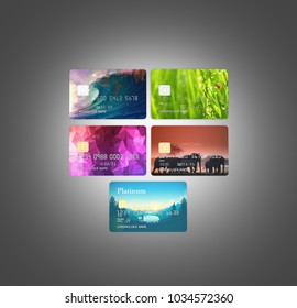 3d illustration of detailed glossy credit cards lined up isolated on black gradient background