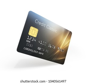 3d illustration of detailed glossy credit card isolated on white background