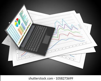 3d illustration of diagram papers and personal computer over black background