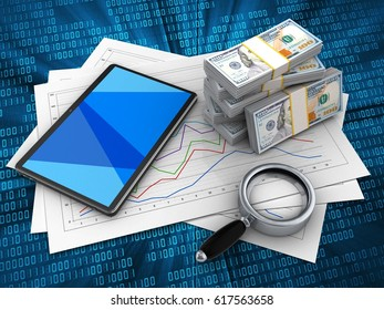 3d illustration of diagram papers and tablet computer over digital background with money