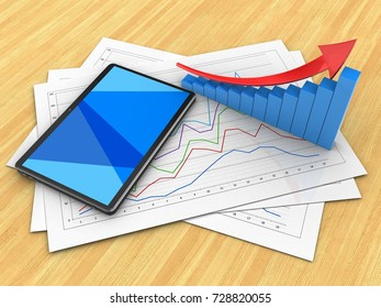 3d illustration of diagram papers and tablet computer over wood table background with arrow graph