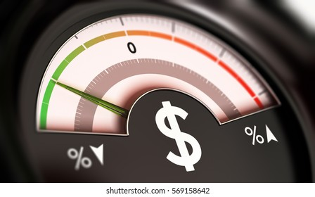 3D illustration of a dial with dollar symbol with needle pointing the green zone. Drop of prices concept, horizontal image.