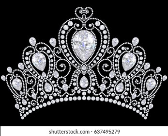 3D illustration diamond crown tiara on a black background