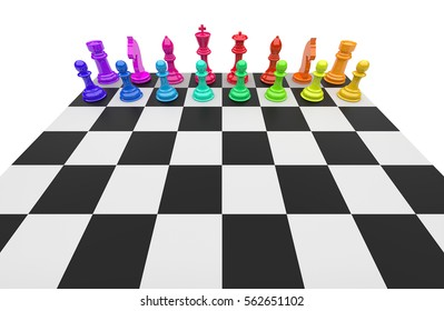 3D illustration of different chess figures and chess scenes