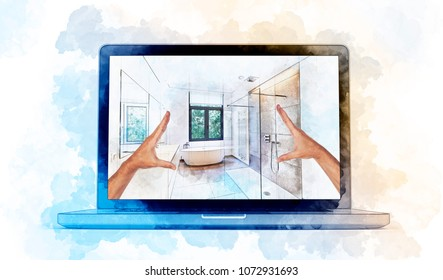 3D illustration Digital Artwork of a modern laptop and hands framing a  Illustration sketch of a Bathroom