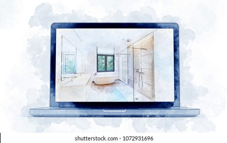 3D illustration Digital Artwork of a modern laptop and dreaming Illustration sketch of a Bathroom