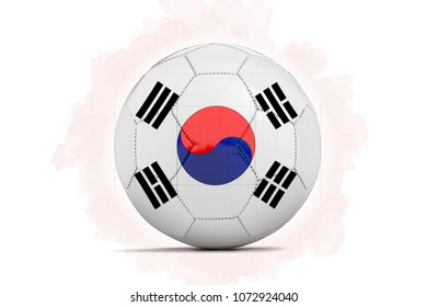 3D illustration Digital Artwork sketch of a Soccer ball with team flag. Korea Republic, Asia