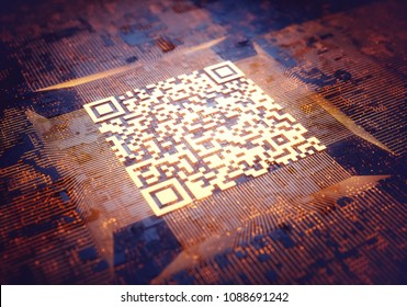 3d illustration, digital data image concept. Abstract background with quick response code on center.