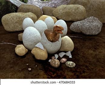 3d illustration of a dinosaur emerging from an egg