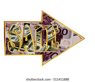 3d illustration. Directional arrows with sale text on white background