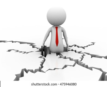 3d illustration of disbalance person on cracked ground. 3d human person character