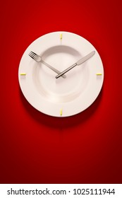 3d illustration of a dish clock on red background