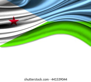 3D illustration of Djibout fabric waving of flag.