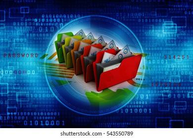 3d illustration of document folders