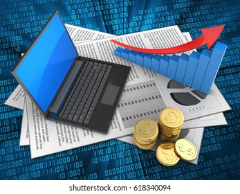 3d illustration of documents and black laptop over digital background with arrow graph
