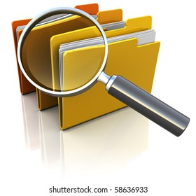 3d illustration of documents folders with magnify glass