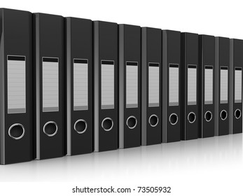 3d illustration of documents folders row