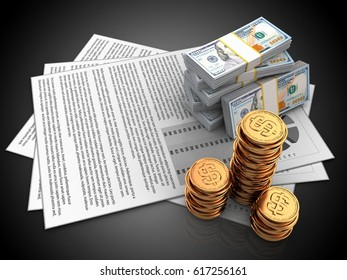 3d illustration of documents and money over black background