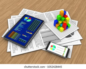 3d illustration of documents and tablet over wood background with graph